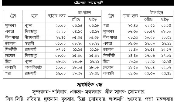 Tangail to Dhaka Train Schedule