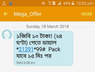 Robi 1GB 10 TK Offer