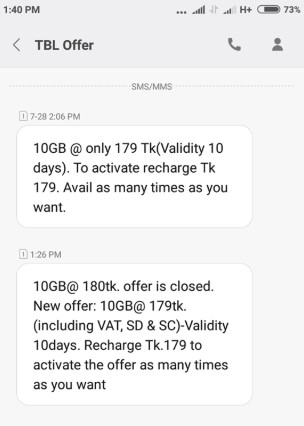 Teletalk 10GB Internet 179 TK Offer