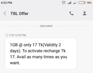 Teletalk 1GB Internet 17 TK Offer