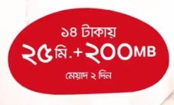 Airtel MNP Offer 14 TK @ 25 Minutes + 200 MB