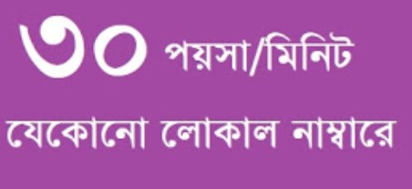 30 Paisa per Min Any Local Number Grameenphone, Banglalink, Robi, Airtel, Teletalk Offer