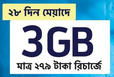 GP 3GB Internet 28Days 279 TK Offer