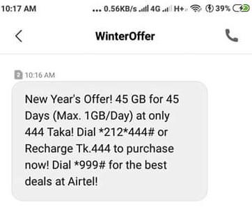 Airtel 45GB 444 TK Offer 2019