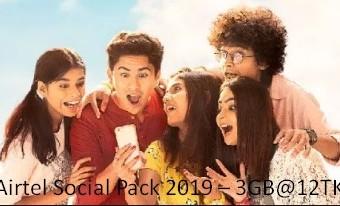 Airtel Social Pack 2019 – 3GB@12TK (15Days Validity)