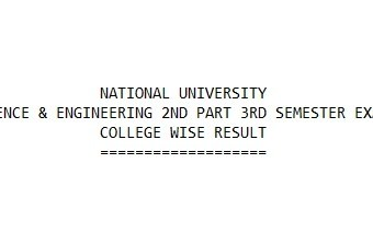 14th March, 2019 – NU B.Sc Honours in CSE 2nd Part 3rd Semester Result Published