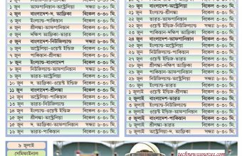 ICC Cricket World Cup 2019 Fixture/Schedule (Bangladesh Time)