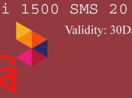 Robi 1500 SMS 20 TK Offer