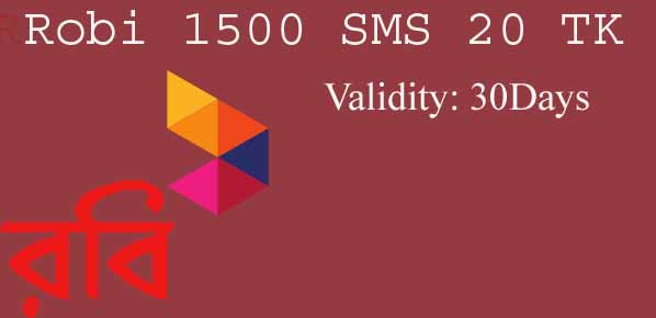 Robi 1500 SMS 20 TK Offer