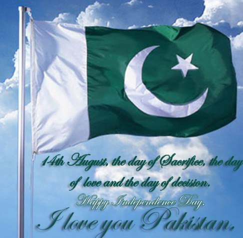 Happy Pakistan Independence Day.- Flag Image with Messages