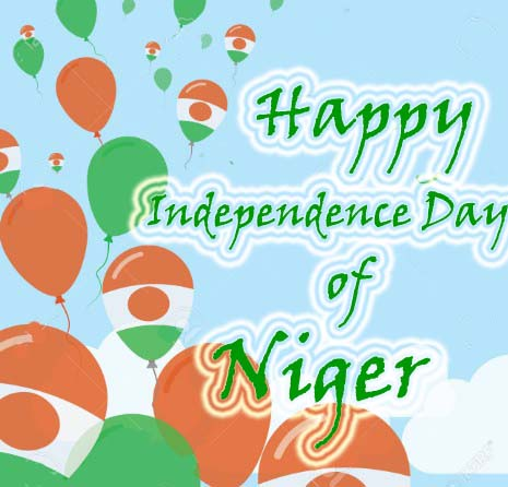 Niger Independence Day Flat Greeting Card. Niger Independence Day. Nigerian Flag Balloons Patriotic Poster. Happy National Day Vector Illustration.