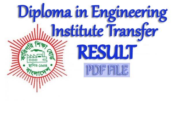Diploma in Engineering Institute Transfer Result