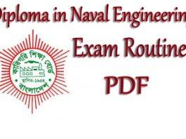 Diploma in Naval Engineering Exam Routine 2019