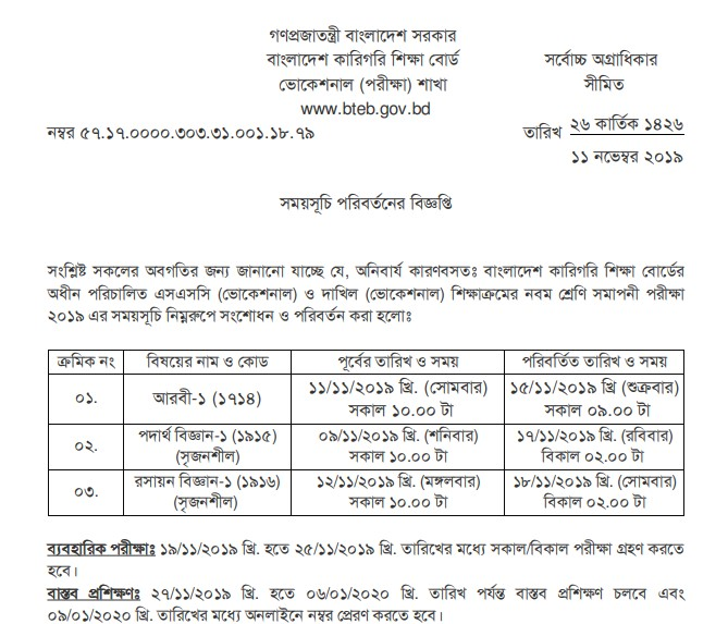 SSC Dakhil Voc Class 9 Exam Routine Changed Notice 2019