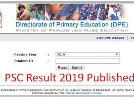 PSC Result 2019 Published