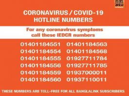 Corona Virus Toll Free Hotline Number in Bangladesh