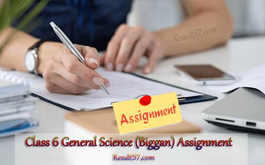Class 6 General Science (Biggan) Assignment