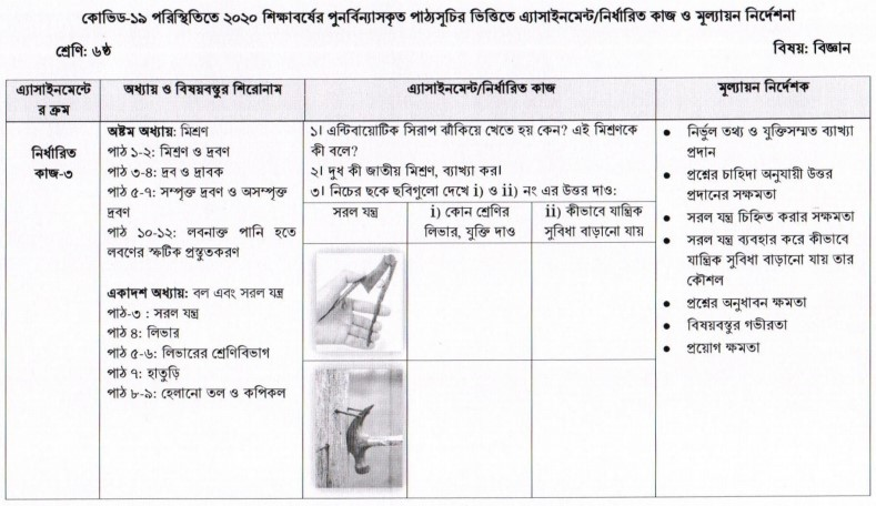 Class 6 Science (Biggan) Assignment Answer – 5th Week