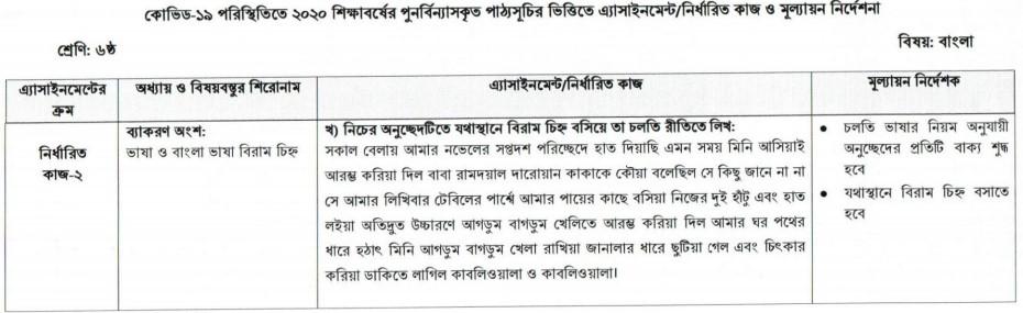 Class 6 Bangla Assignment Answer 6th Week